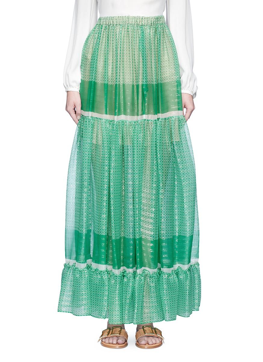 Elsa star print Lurex silk maxi skirt by Stella McCartney