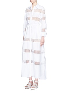 Alaïa Crochet lace stripe drawstring poplin dress