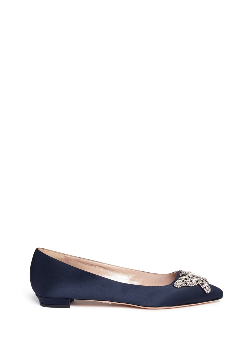 Cristy crystal pavé butterfly satin flats by Aruna Seth