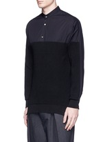 Knit front cotton poplin unisex shirt