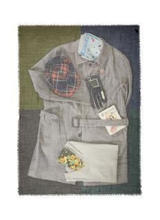 Franco Ferrari'Evans Wash' shirt print wool cashmere scarf
