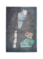 'Evans Wash' shirt print wool cashmere scarf