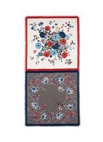 Contrast flower print silk twill scarf