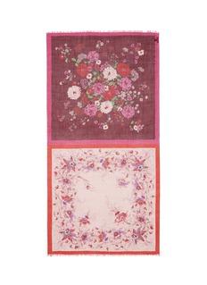Franco Ferrari'Notevole' contrast floral panel cashmere scarf