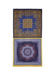Franco Ferrari'Notevole' contrast mosaic panel cashmere scarf