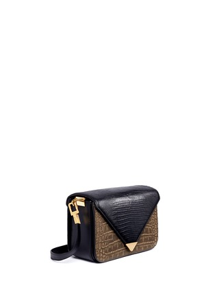 Front View - Click To Enlarge - Alexander Wang  - 'Prisma' small croc lizard embossed sling crossbody bag