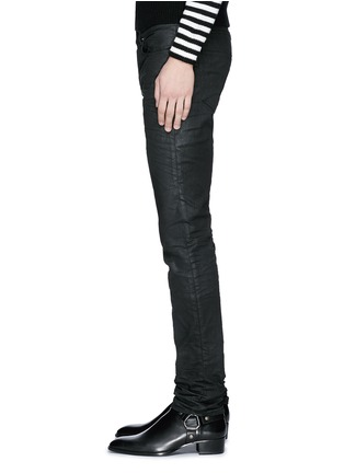 Detail View - Click To Enlarge - Saint Laurent - Slim fit coated stretch denim jeans