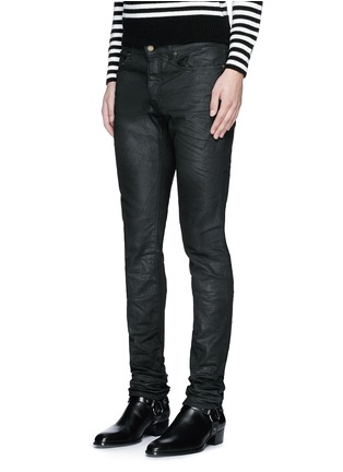 Front View - Click To Enlarge - Saint Laurent - Slim fit coated stretch denim jeans