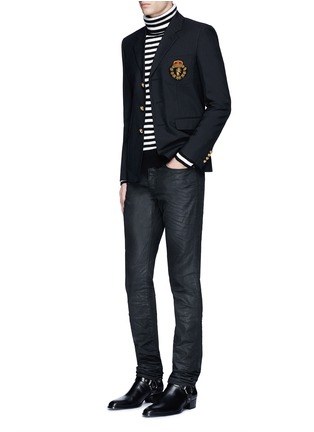Figure View - Click To Enlarge - Saint Laurent - Slim fit coated stretch denim jeans