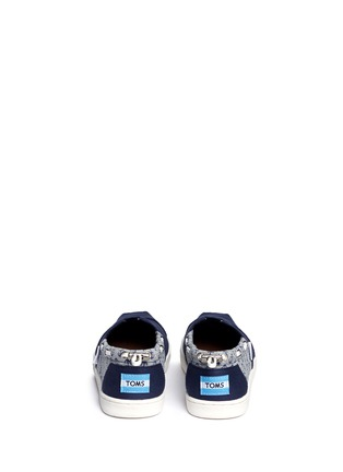 Back View - Click To Enlarge -  - Youth Bimini anchor print canvas kids slip-ons
