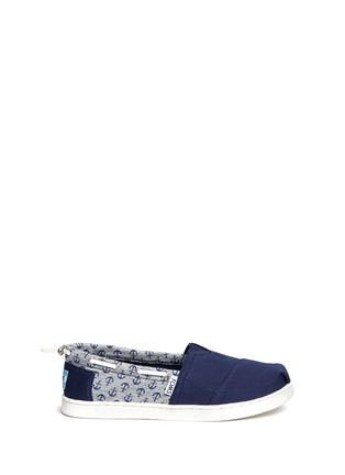 Main View - Click To Enlarge -  - Youth Bimini anchor print canvas kids slip-ons