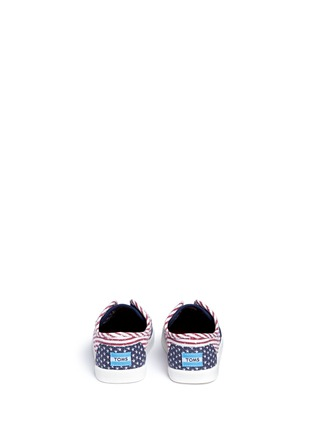 Back View - Click To Enlarge -  - Tiny Paseo flag print canvas toddler slip-ons