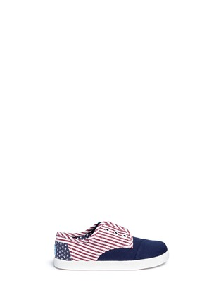 Main View - Click To Enlarge -  - Tiny Paseo flag print canvas toddler slip-ons