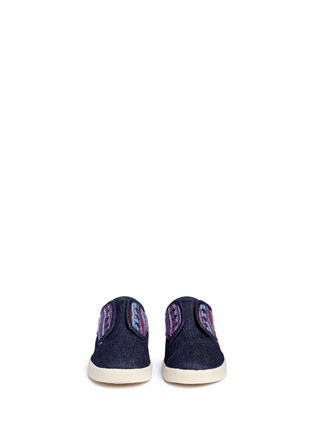 Figure View - Click To Enlarge -  - Tiny Paseo geometric contrast denim toddler slip-ons