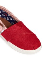 Tiny Bimini stripe burlap toddler slip-ons