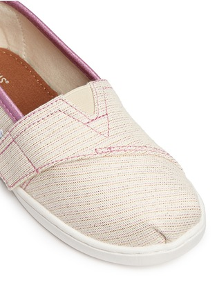Detail View - Click To Enlarge -  - Tiny Classic glitter stripe woven toddler slip-ons