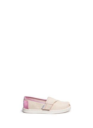 Main View - Click To Enlarge -  - Tiny Classic glitter stripe woven toddler slip-ons