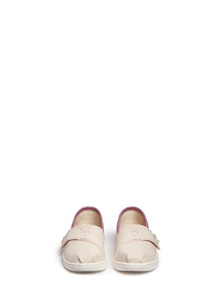 Figure View - Click To Enlarge -  - Tiny Classic glitter stripe woven toddler slip-ons