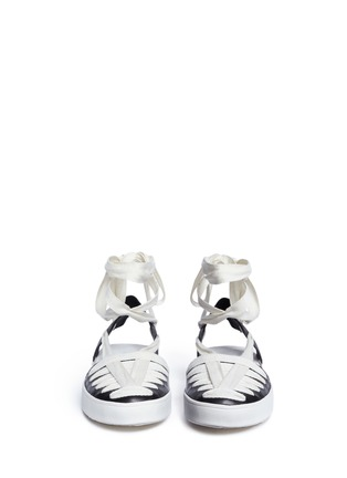 Front View - Click To Enlarge - 10 Crosby Derek Lam - 'Leon' strappy ribbon ankle tie leather flats