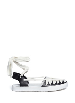 Main View - Click To Enlarge - 10 Crosby Derek Lam - 'Leon' strappy ribbon ankle tie leather flats