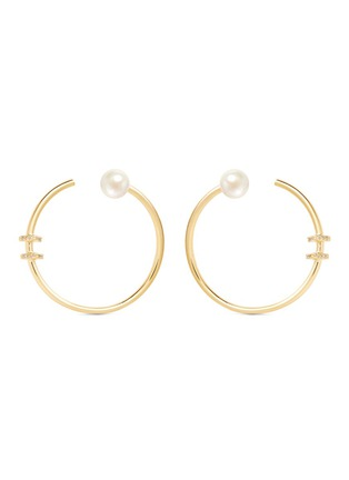 Phyne By Paige Novick-'Building Blocks' diamond pavé pearl 18k yellow gold hoop earrings