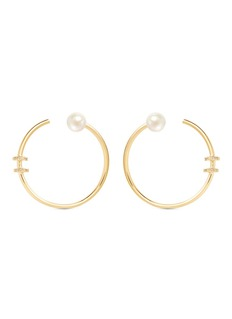 Phyne By Paige Novick 'Building Blocks' diamond pavé pearl 18k yellow gold hoop earrings