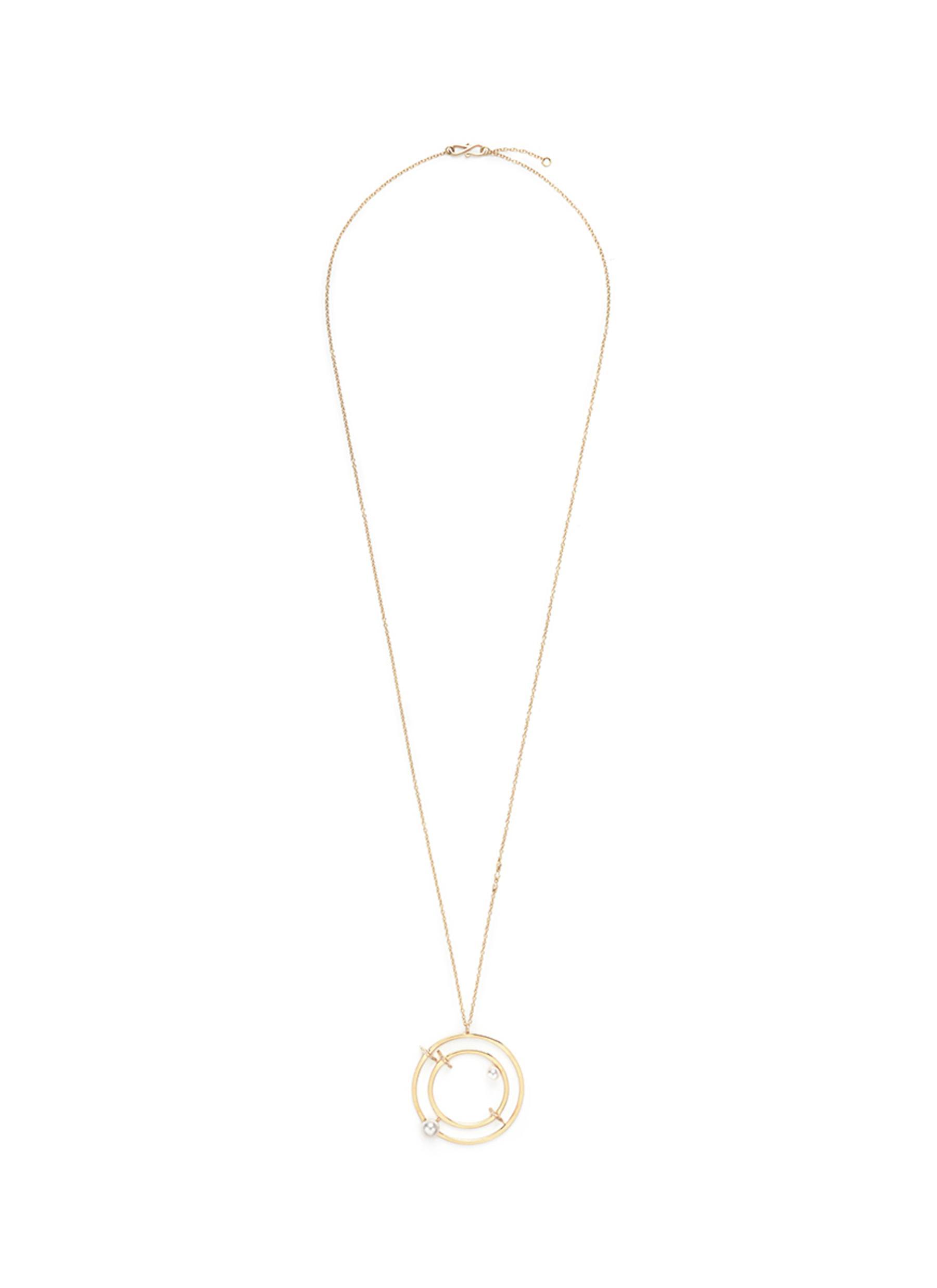 Building Blocks diamond pavé pearl pendant 18k yellow necklace by Phyne By Paige Novick