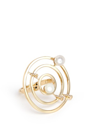 Detail View - Click To Enlarge - Phyne By Paige Novick - 'Building Blocks' diamond pearl 18k yellow gold ring