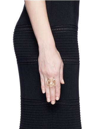 Figure View - Click To Enlarge - Phyne By Paige Novick - 'Building Blocks' diamond pearl 18k yellow gold ring