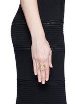 'Building Blocks' diamond pearl 18k yellow gold ring