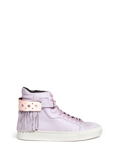 EUGÈNE RICONNEAUS'Calcuta-Ring' fringe incised leather high top sneakers