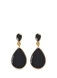 Kenneth Jay Lane Enamel teardrop metal frame drop earrings