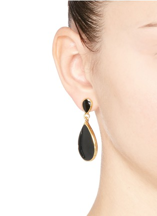 Kenneth Jay Lane - Enamel teardrop metal frame drop earrings