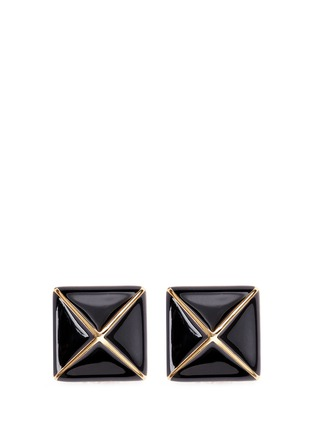 Main View - Click To Enlarge - Kenneth Jay Lane - Enamel pyramid clip earrings