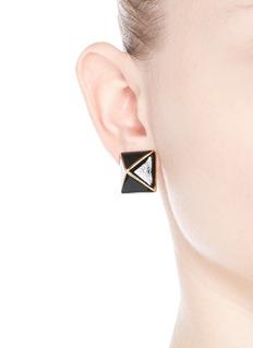 KENNETH JAY LANEEnamel pyramid clip earrings