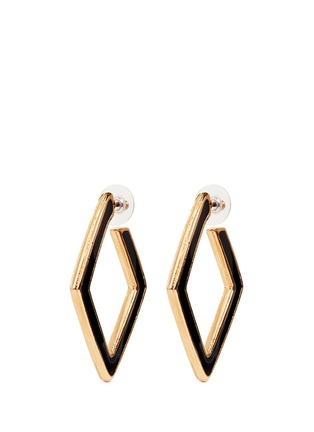 Main View - Click To Enlarge - Kenneth Jay Lane - Enamel inlay rhombus frame hoop earrings