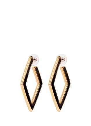 Kenneth Jay Lane-Enamel inlay rhombus frame hoop earrings