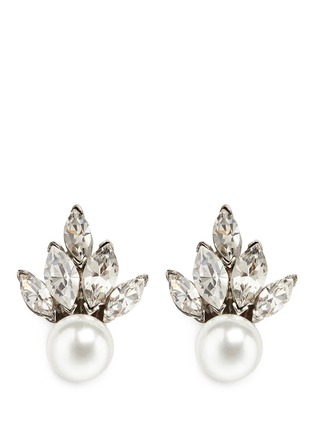 Main View - Click To Enlarge - Kenneth Jay Lane - Crystal fan faux pearl stud earrings