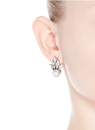 Figure View - Click To Enlarge - Kenneth Jay Lane - Crystal fan faux pearl stud earrings