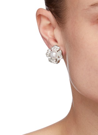Figure View - Click To Enlarge - Kenneth Jay Lane - Crystal pavé flower stud earrings