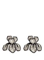 Crystal pavé floral iris stud earrings