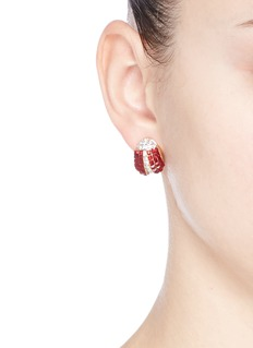 KENNETH JAY LANELadybug glass crystal stud earrings