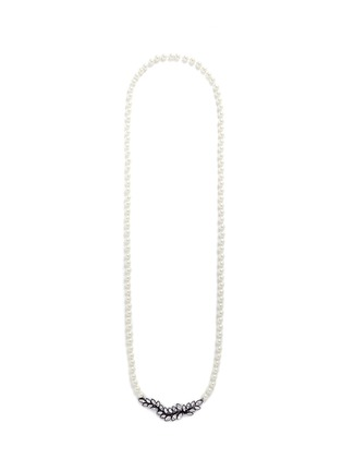 Main View - Click To Enlarge - Kenneth Jay Lane - Crystal pavé leaf faux pearl necklace