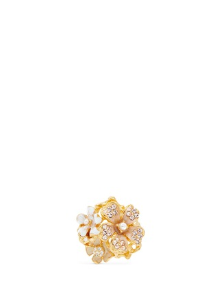 KENNETH JAY LANE-花卉造型仿水晶珍珠戒指