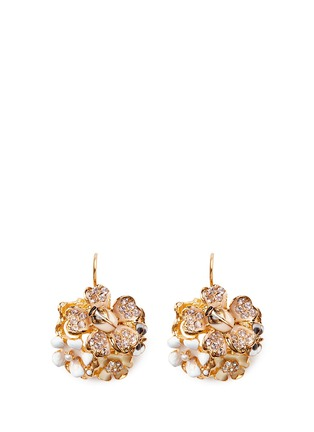 Main View - Click To Enlarge - Kenneth Jay Lane - Crystal pavé flower bug drop earrings