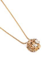 Crystal pavé flower bug pendant necklace