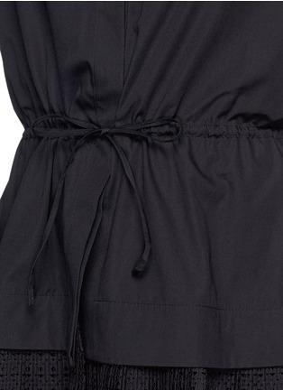 Detail View - Click To Enlarge - Alaïa - 'Vienne' geometric cutout plissé pleat drawstring shirt