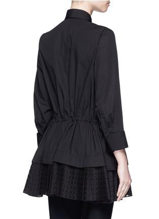 Back View - Click To Enlarge - Alaïa - 'Vienne' geometric cutout plissé pleat drawstring shirt