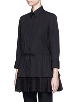 'Vienne' geometric cutout plissé pleat drawstring shirt