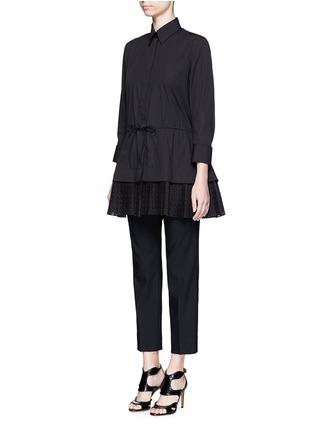 Figure View - Click To Enlarge - Alaïa - 'Vienne' geometric cutout plissé pleat drawstring shirt